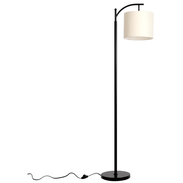 LEDPAX Tilden Hanging Floor Lamp with Rectangular Base & White Lampshade - Black, E26 Base