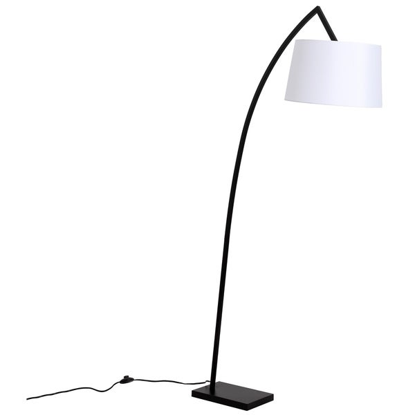 LEDPAX Leola Perched Hanging Floor Lamp with Rectangular Base & White Lampshade - Black, E26 Base