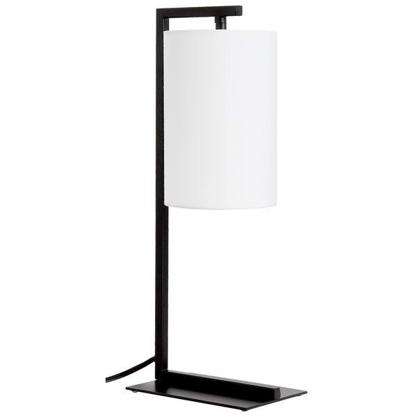 LEDPAX Kenton Hanging Table Lamp with Rectangular Base & White Lampshade - Black, E12 Base