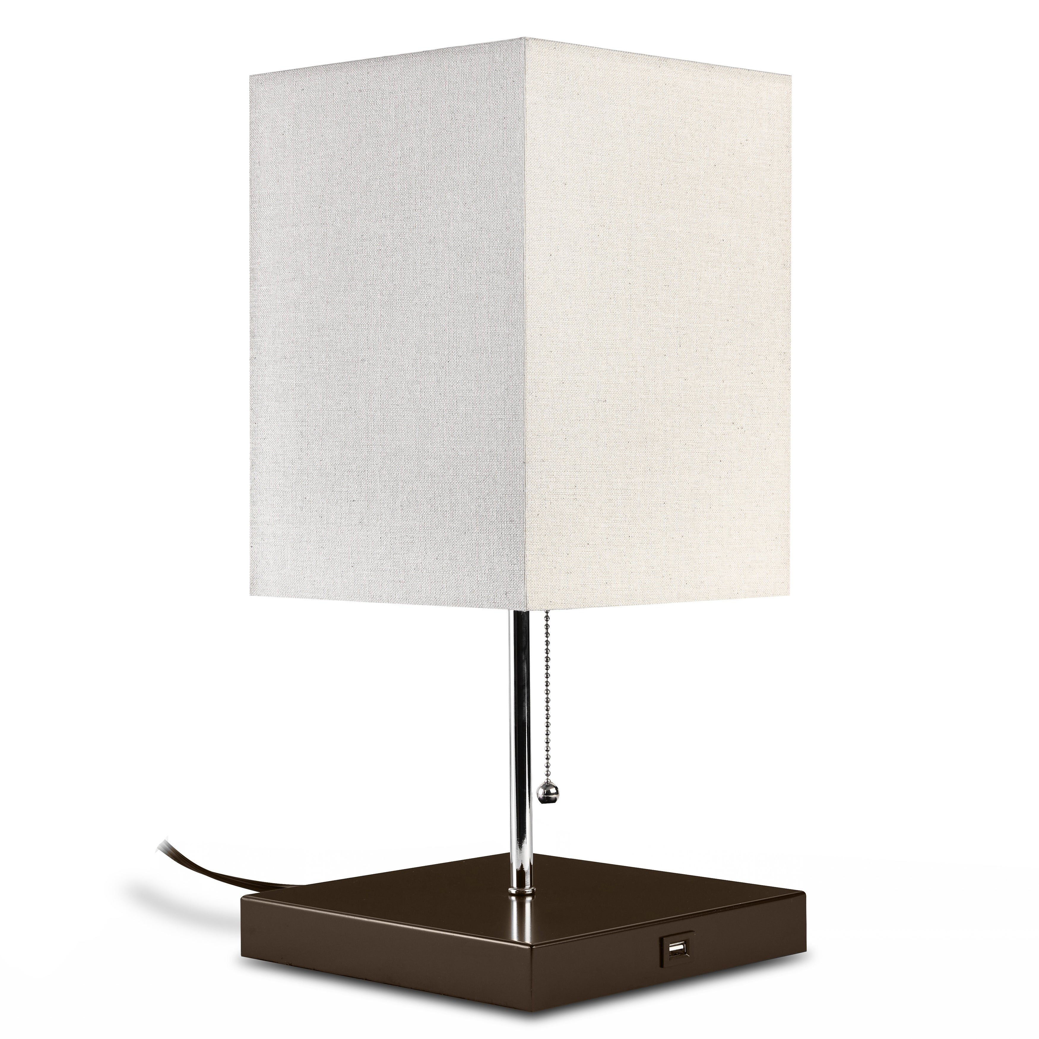 Picture of: Shop Black Friday Deals On Ledpax Omro Rectangular Table Lamp With Fabric Shade And Usb Charging Station Black E26 Base Overstock 20987218