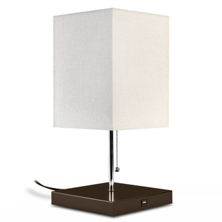 Link to LEDPAX Omro Rectangular Table Lamp with Fabric Shade and USB Charging Station - Black, E26 Base Similar Items in Table Lamps