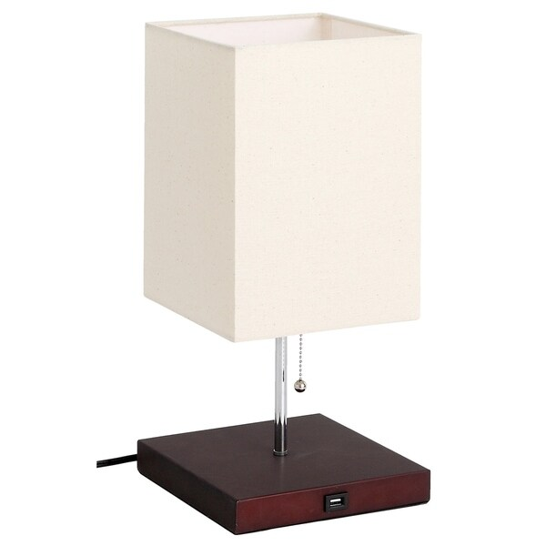 LEDPAX Omro Rectangular Table Lamp with Fabric Shade and USB Charging Station - Black, E26 Base