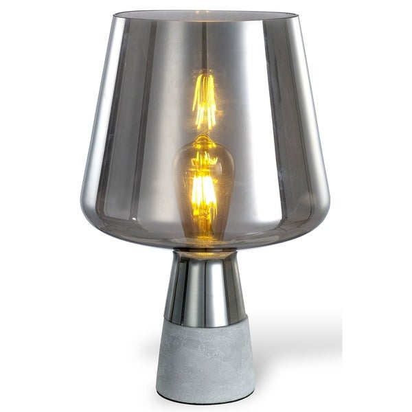 LEDPAX Chico Open-top Smoke Glass Modern Table Lamp - Concrete Base