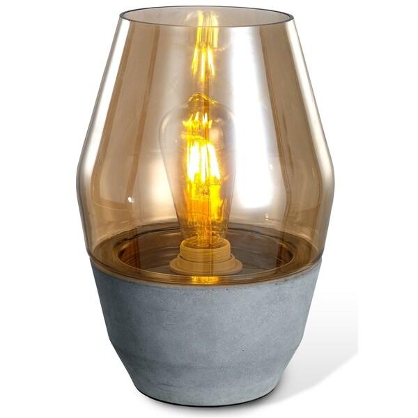 LEDPAX Colma Open-top Amber Glass Modern Table Lamp - Concrete Base