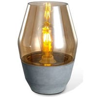 LEDPAX Colma Open-top Amber Glass Modern Table Lamp - Concrete Base