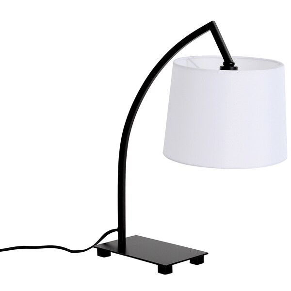 LEDPAX Bristol Perched Table Lamp with Rectangular Base & White Lampshade - Black, E12 Base