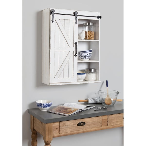 Kate and Laurel Cates Wood Wall Storage Cabinet with Sliding Barn Door