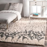nuLOOM Ivory Contemporary Abstract Cotton Shag Area Rug - 5' x 8'