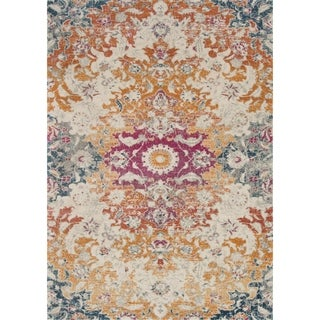 "Bohemian Sunset Orange/ Multi Vintage Distressed Floral Rug - 2'2"" x 3'9"""
