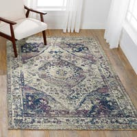 Bohemian Purple/ Multi Vintage Distressed Medallion Rug - 9' x 12'2