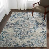 Bohemian Blue/ Grey Vintage Distressed Floral Rug - 9' x 12'2