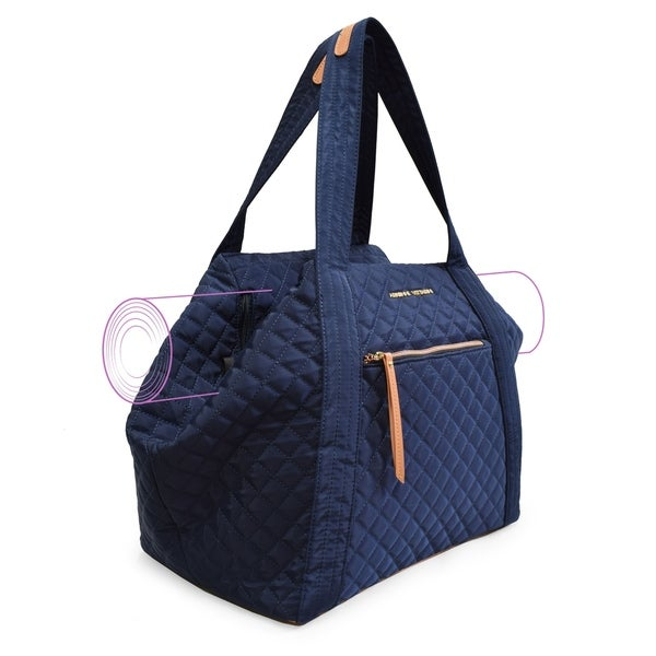 Adrienne Vittadini Quilted Yoga Bag-Navy