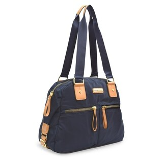 Adrienne Vittadini Lightweight Nylon Collection Double Handle Satchel With Double Zip Front Pockets-Navy