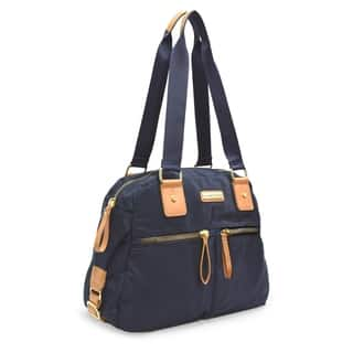 4a9753f4e584 Adrienne Vittadini Lightweight Nylon Collection Double Handle Satchel With  Double Zip Front Pockets-Navy