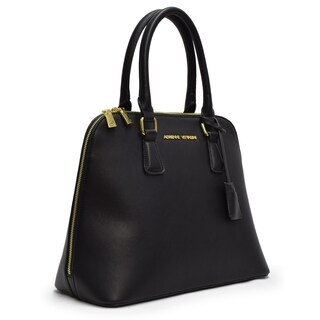 Adrienne Vittadini Classic Smooth Dome Satchel-Black