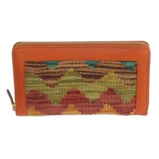 Arya Orange/Blue Kilim Wool and Genuine Leather Wallet - Medium