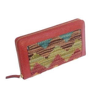 Arya Red/Teal Kilim Wool and Genuine Leather Wallet - Medium