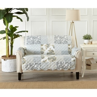 Link to Great Bay Home Patchwork Scalloped Loveseat Protector Similar Items in Slipcovers & Furniture Covers