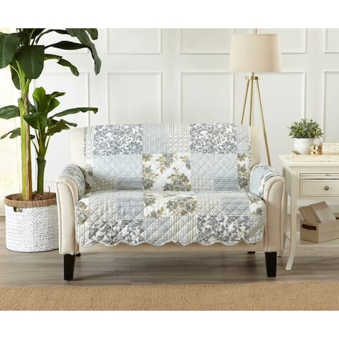Great Bay Home Patchwork Scalloped Loveseat Protector