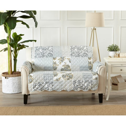 Home Fashion Designs Patchwork Scalloped Stain Resistant Printed Loveseat Protector