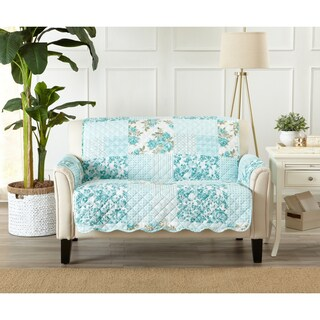 Great Bay Home Patchwork Scalloped Stain Resistant Printed Loveseat Protector