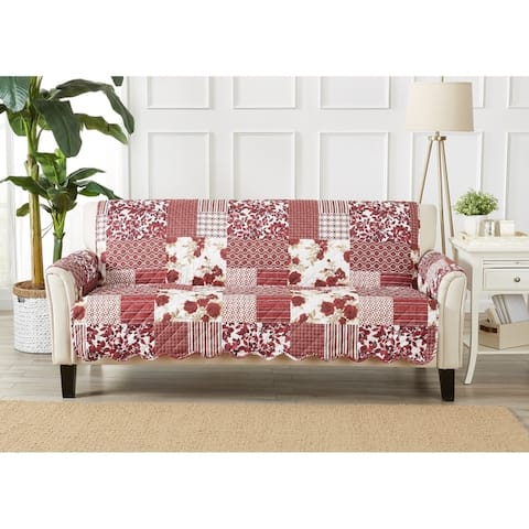 Great Bay Home Patchwork Scalloped Printed Sofa Protector