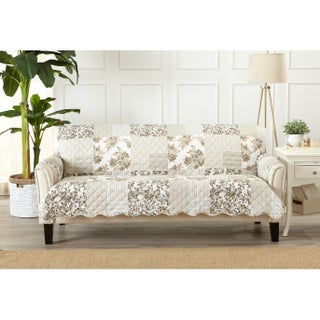Great Bay Home Patchwork Scalloped Stain Resistant Printed Sofa Protector