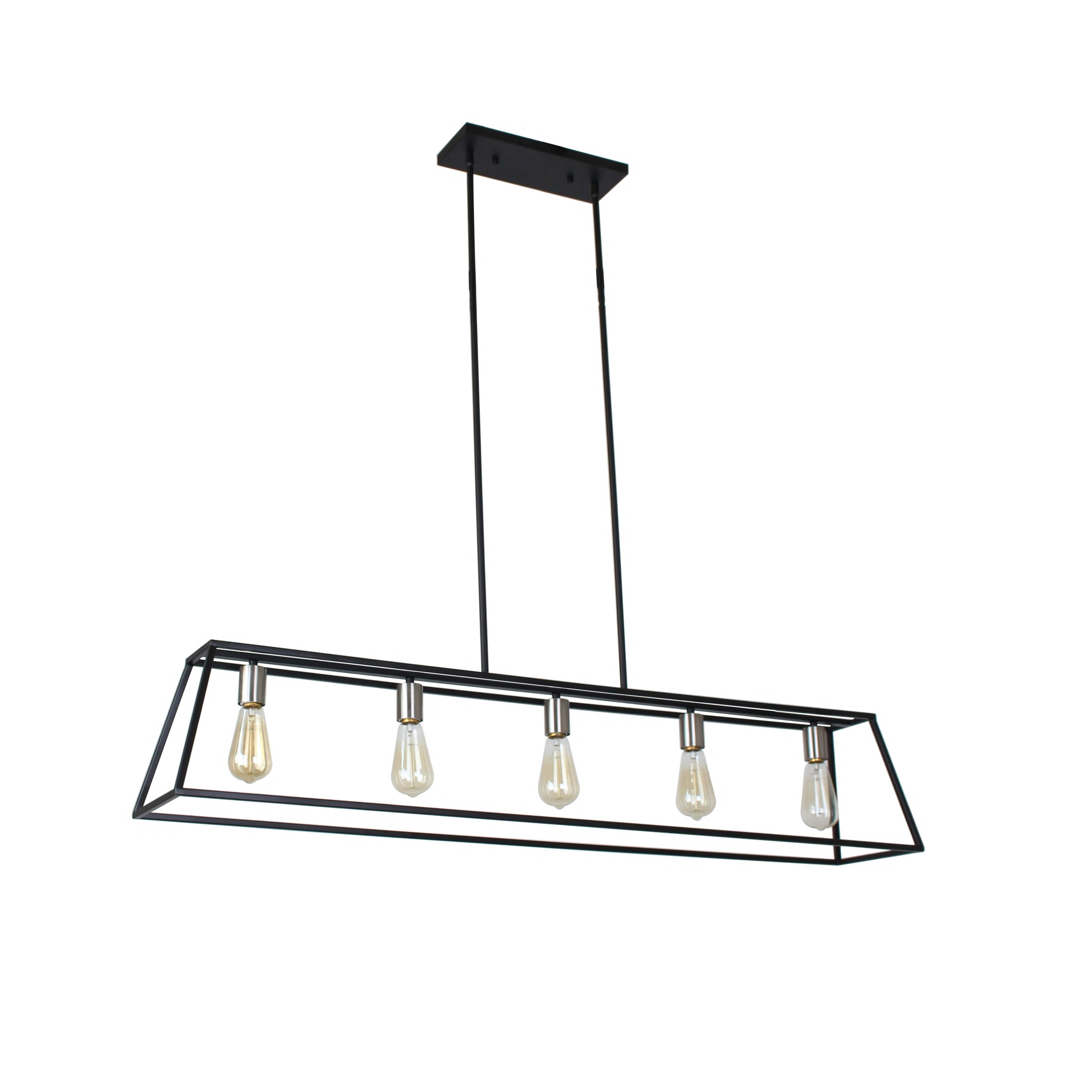 Sarah Collection 5-Light Black and Satin Nickel Finish Chandelier