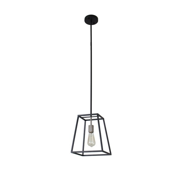 Sarah Collection 1-Light Black and Satin Nickel Finish Pendant