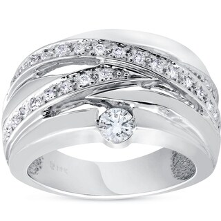Bliss 14K White Gold 3/4 ct TDW Multi Row Crossover Diamond Wide Ring