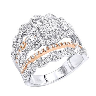 Unique 18kt Gold Round and Baguette Diamond Engagement Ring 1.9ctw G-H Color by Luxurman