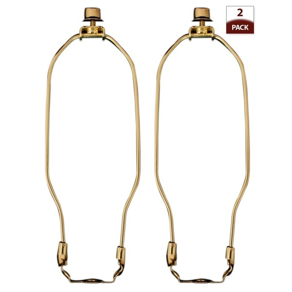 "Royal Designs 8"" Lamp Harp, Finial and Lamp Harp Holder Set, Polished Brass, 2-Pack"