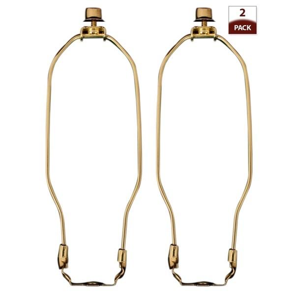 "Royal Designs 7.5"" Lamp Harp, Finial and Lamp Harp Holder Set, Polished Brass, 2-Pack"