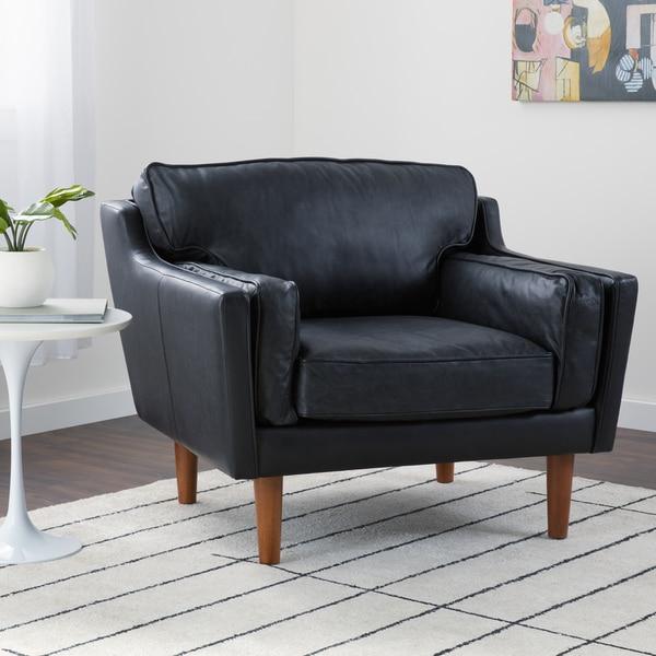 Superbe Jasper Laine Beatnik Leather Chair In Oxford Black