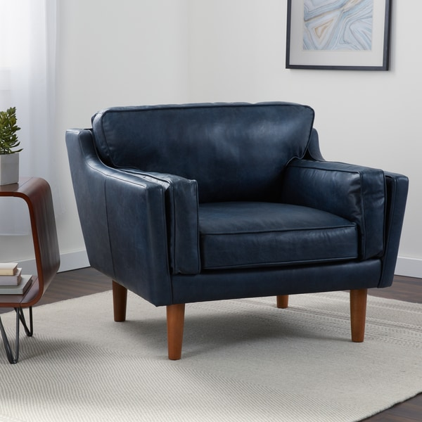 Incroyable Jasper Laine Beatnik Leather Chair In Oxford Navy