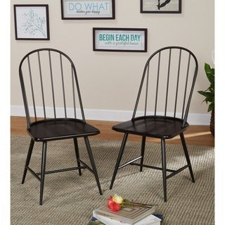 Simple Living Milo Mixed Media Dining Chairs in Black/Espresso (Set of 2) (As Is Item)