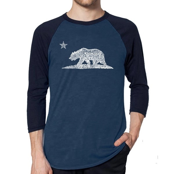 Los Angeles Pop Art Mens Raglan Baseball Word Art T-shirt - California Bear