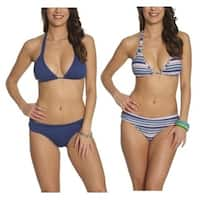 Pixie Pier Foldover Bottom Bikini - 2 Sets - Multi Blue Stripe and Blue
