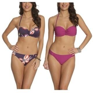 Pixie Pier Middle Twist Detail Bandeau Bikini - 2 Sets - Purple Floral and Purple