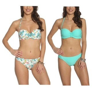 Pixie Pier Middle Twist Detail Bandeau Bikini - 2 Sets - Multi Floral and Turquoise