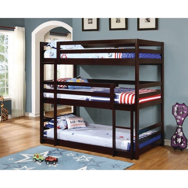 Shop Taylor Olive Hale Cappuccino 3 Tier Bunk Bed On Sale Free