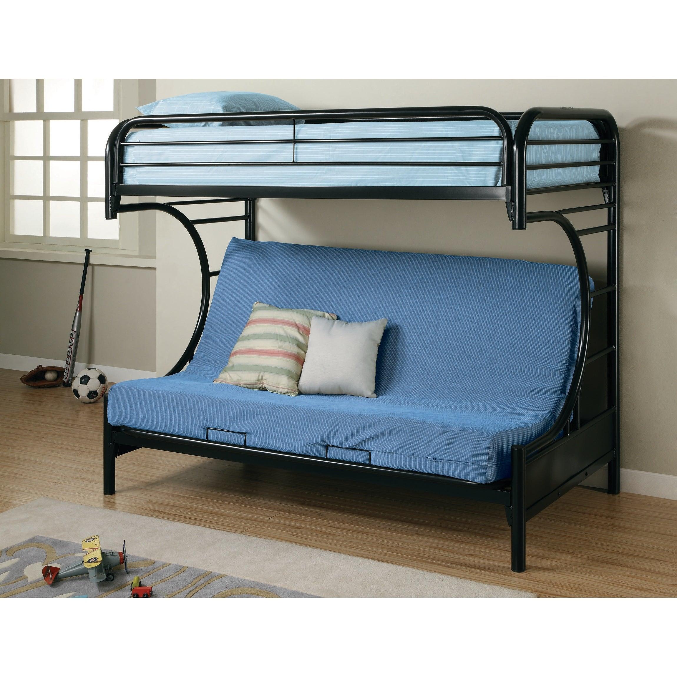Glossy Black Futon Bunk Bed