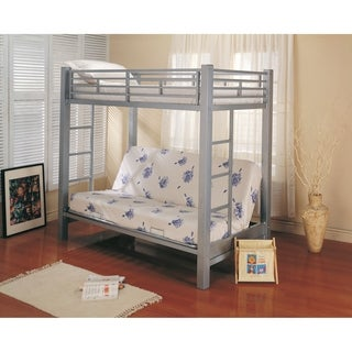 Youth Glossy Silver Metal Bunk Bed
