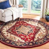 Safavieh Handmade Heritage Traditional Heriz Red/ Navy Wool Rug - 6' x 6' Round