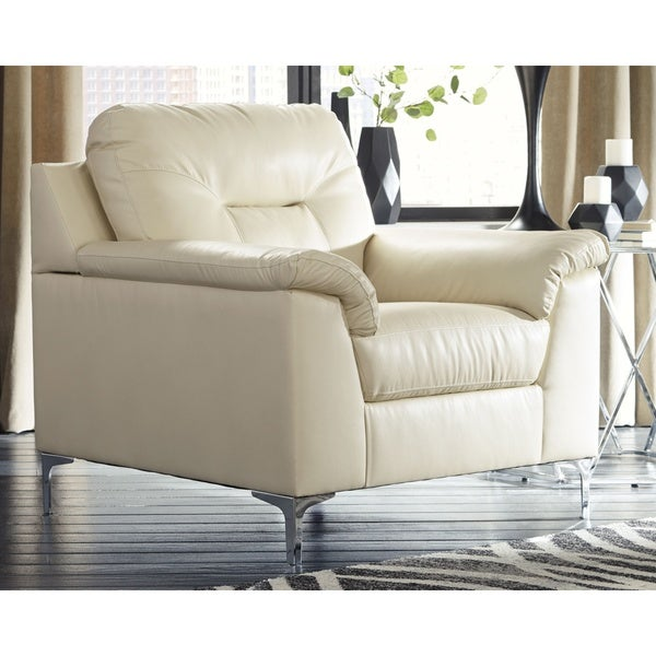 Shop Tensas White Faux Leather Chair Free Shipping Today