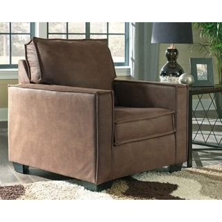 Terrington Brown Faux Leather Contemporary Chair