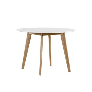 Handy Living Edgewater Round White Dining Table with Natural Finish Legs