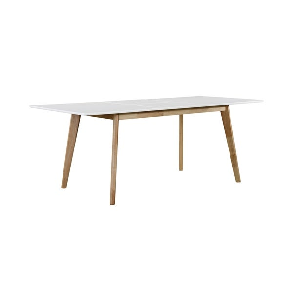 Handy Living Windsor Rectangular Butterfly Leaf White Dining Table with Natural Finish Legs