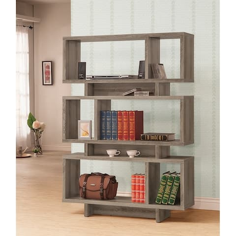 Contemporary Weathered Grey Wood Bookcase