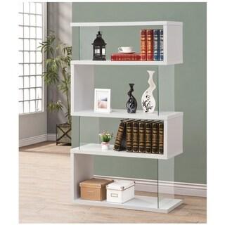 Glossy White 4-shelf Asymmetrical Bookcase